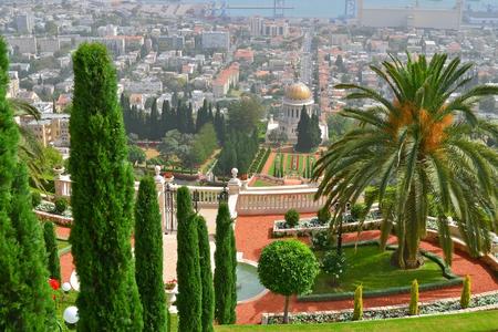 bahaullah: Bahai gardens in Haifa view from the top of the port