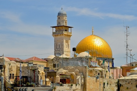 synagogues: Jerusalem the Golden dome of the rock covered the sky and a number of housing people Editorial