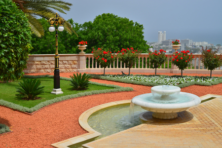 the landscape of Israel Bahai gardens in Haifa - the fountain
