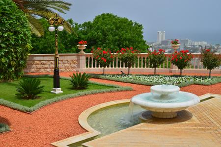 bahaullah: the landscape of Israel Bahai gardens in Haifa - the fountain