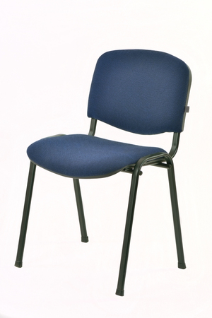 standard steel: metal chair with padded blue seat