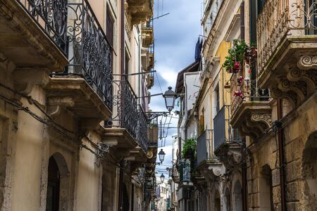 Houses on the Ortygia isle - old town of Syracuse on Sicily island, Italy