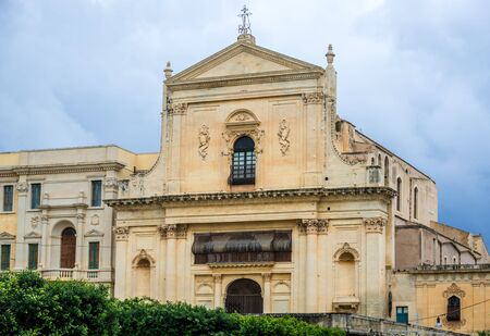 Church of Santissimo Salvatore in Noto city, Sicily in Italy Stock Photo