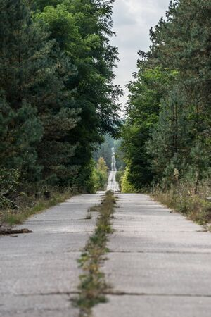 Road to Duga-3 Soviet radar system in Chernobyl Nuclear Power Plant Zone of Alienation, Ukraine