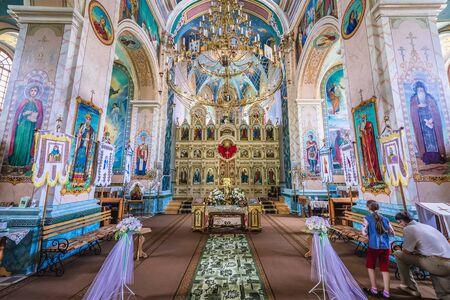 Terebovlia, Ukraine - June 10, 2017: Inside the Orthodox church in former Carmelite monastery complex in Terebovlia town located in Ternopil Oblast