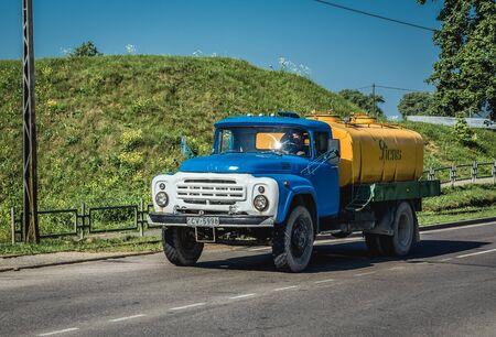 Daugavpils, Latvia - June 25, 2016: Old ZiL truck on a street in Daugavpils city