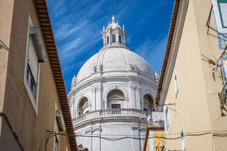 View on the dome of National Pantheon, former Church of Santa Engracia in Lisbon city, capital of Portugal
