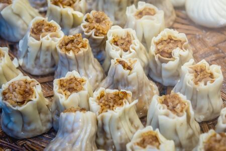 Food stand with steamed dumplings in Beijing, capital city of China