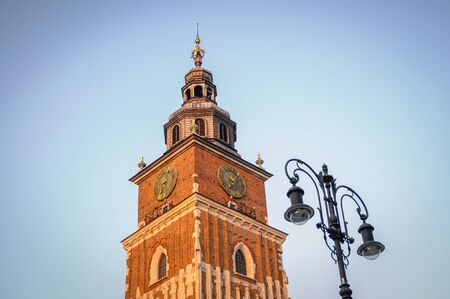 Town Hall Tower on a Main Market Square of Old Town in Cracow city in Poland Imagens