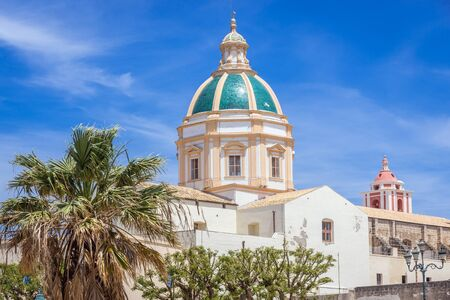 Dome of St Francis church in Trapani, capital of Trapani Province on Sicily Island in Italy