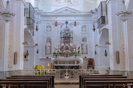 Roman Catholic Holy Savior Church in Erice, small town located on a mountain near Trapani city, Sicily Island in Italy