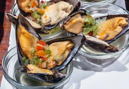 Seafood snacks in tapas bar in San Sebastian coastal city located in the Basque Autonomous Community, Spain