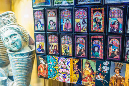 Isfahan, Iran - October 20, 2016: Fridge magnets for sale on the Grand Bazaar also called Qeysarriyeh or Soltani bazaar in Isfahan city