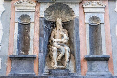 Statue of Genio del Garraffo - Genius of Palermo in Loggia area of Palermo, Sicily Island in Italy