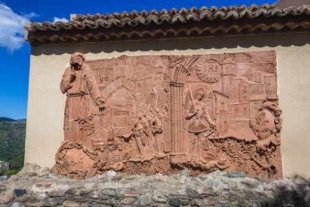 Relief next to Saint Nicholas Church also called Saint Lucy Church in Savoca, small town on Sicily in Italy
