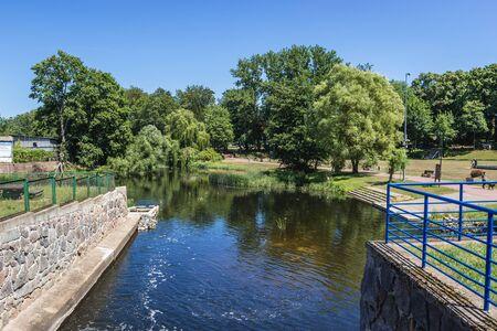 River Rega in Gryfice town, West Pomerania Province of Poland Zdjęcie Seryjne