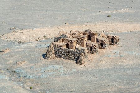 Ruins of ritual buildings next to Zoroastrian Towers of Silence in Yazd city, Iran Stock Photo