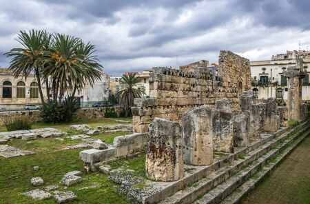 Ruins of Temple of Apollo on the Ortygia - old town of Syracuse on Sicily island, Italy