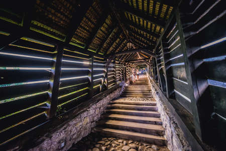 Sighisoara, Romania - July 4, 2016: 17th century covered stairs called Scholar Stairs in Sighisoara city located in Mures County