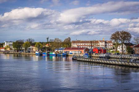 Mrzezyno, Poland - May 11, 2017: View on the river Rega in Mrzezyno coastal town on the Baltic coast