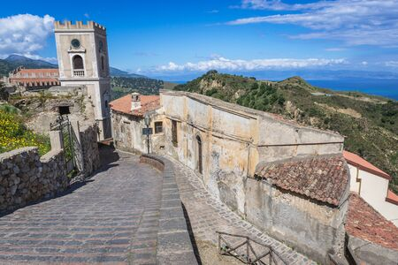 Tower of Saint Nicholas Church also called Saint Lucy Church in Savoca, small town on Sicily in Italy