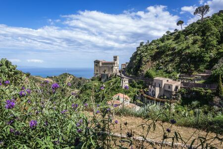 View with Saint Nicholas Church also called Saint Lucy Church in Savoca, small town on Sicily in Italy Stock Photo