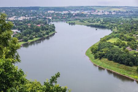 Aerial view from hill in Soroca, Moldova on Dniester River, border between Moldova and Ukraine