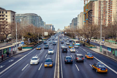 Beijing, China - February 9, 2019: Second Ring Road in Dongcheng District of Beijing city Editorial