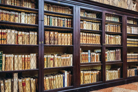 Bologna, Italy - September 30, 2019: Municipal Library located in Archiginnasio - one of the oldest buildings of Bologna University