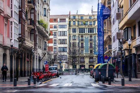 Bilbao, Spain - January 27, 2019: View on Calle Heros street in Bilbao city