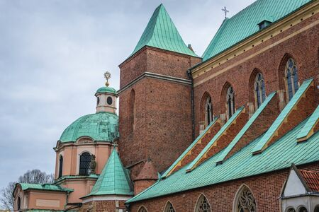 Side view of St John the Baptist Cathderal located in historic part of Wroclaw city in Poland