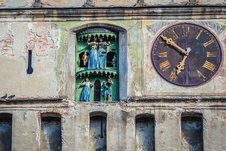 Details of famous Clock Tower in historic part of Sighisoara city located in Mures County of Romania