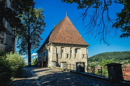 Ironsmiths Tower in historic part of Sighisoara city, Romania