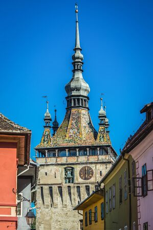 Famous Clock Tower in historic part of Sighisoara city located in Mures County of Romania
