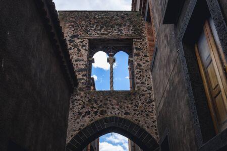 Arch Street - Via Degli Archi in historic part of Randazzo city on Sicily Island in Italy