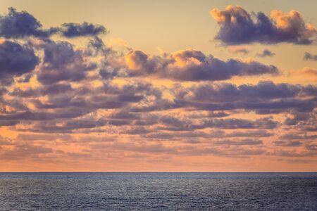 Sunset over Tyrrhenian Sea on Sicily Island, Italy - view from Zafferano cape