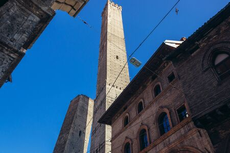 Asinelli Tower and Garisenda Tower - one one of the symbols of Bologna city, Italy