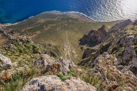 Aerial view from the top of Mount Cofano on Sicily Island, Italy 写真素材