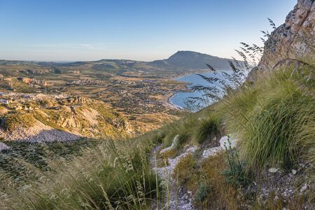 Aerial view from the slope of Mount Cofano on Sicily Island, Italy