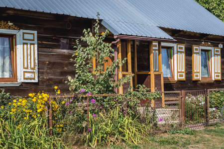 Traditional house in Soce, small village of so called Land of Open Shutters in Podlasie region of Poland