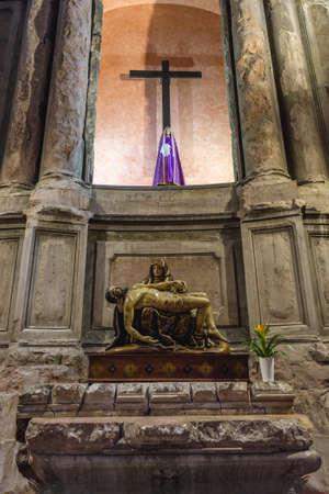 Pieta sculpture in Sao Domingos historical church in Lisbon city, Portugal