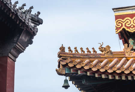 Close up on a roof elements in Yonghe Temple, commonly called Lama Temple in Beijing, capital city of China Sajtókép