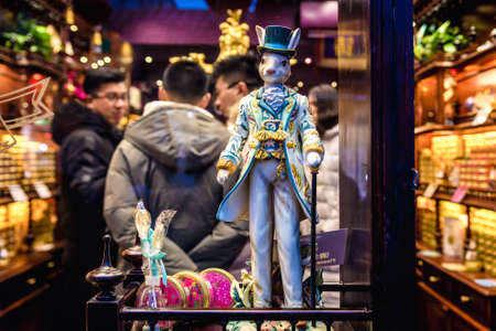 Beijing, China - February 9, 2019: Statue on a display of gift shop in Nanluoguxiang hutong in Beijing city