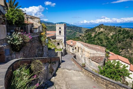 Tower of San Nicolo Church in Savoca village which was location for scenes set of The Godfather, Sicily Island in Italy Stock Photo
