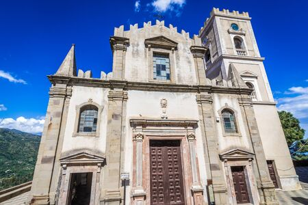 San Nicolo Church in Savoca village which was location for scenes set of The Godfather, Sicily Island in Italy Stock Photo