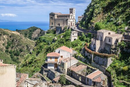 View with San Nicolo Church also called San Lucia in Savoca village which was location for scenes set of The Godfather, Sicily Island in Italy