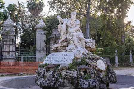Genius of Palermo - Genio di Palermo fountain in Villa Giulia park also called Popolo park in Palermo, Sicili Island in Italy