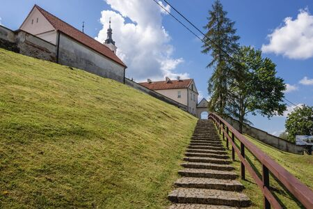 Entry stairs to former Camaldolese monastery in Wigry, small village in Podlasie region of Poland