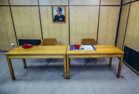 Konjic, Bosnia and Herzegovina - August 25, 2015. Desk in conference room of ARK (Atomska Ratna Komanda) Nuclear Command Bunker built between 1953 and 1979 for Josip Broz Tito