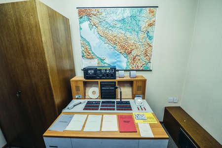 Konjic, Bosnia and Herzegovina - August 25, 2015. Military intelligence office in ARK (Atomska Ratna Komanda) Nuclear Command Bunker built between 1953 and 1979 for Josip Broz Tito